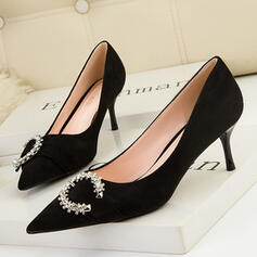 Women's PU Stiletto Heel Pumps Heels With Rhinestone Solid Color shoes