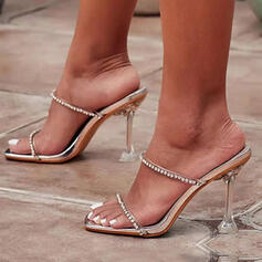 Women's PU Kitten Heel Sandals Pumps Peep Toe Slippers With Rhinestone Solid Color shoes
