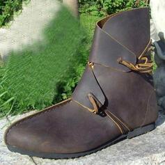 De mujer Piel Tacón plano Botas al tobillo Botas de equitación Encaje con Correa Trenzada Color sólido zapatos