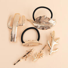 Leaves Shaped Cactus Alloy With Leaf Tree Minimalist Women's Ladies' Girl's Hair Accessories 6 PCS