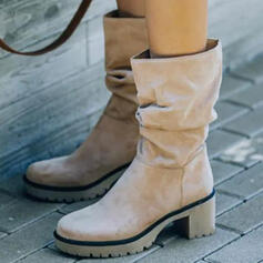 Women's Suede Chunky Heel Boots Winter Boots With Solid Color shoes
