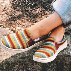 Women's PU Flat Heel Flats Low Top Round Toe Slip On With Splice Color shoes