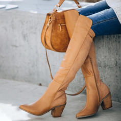 Women's Leatherette Chunky Heel Over The Knee Boots Winter Boots With Zipper Solid Color shoes