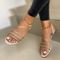 Women's Leatherette Sparkling Glitter Flat Heel Sandals With Rhinestone Buckle Hollow-out shoes