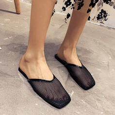 Women's Mesh Flat Heel Closed Toe Slingbacks Slippers Square Toe With Solid Color shoes