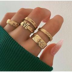 Letter Vintage Classic Alloy Women's Ladies' Rings 5 PCS