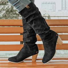 Women's PU Chunky Heel Martin Boots With Ruched Solid Color shoes