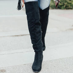 Women's Suede Chunky Heel Over The Knee Boots Round Toe With Ruched Zipper Solid Color shoes