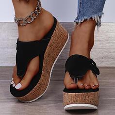 Women's Suede Wedge Heel Sandals Flip-Flops Slippers With Solid Color shoes