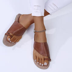Women's PU Flat Heel Sandals Peep Toe Slippers Toe Ring With Buckle Hollow-out shoes