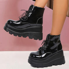 Women's PU Wedge Heel Platform Martin Boots With Lace-up Solid Color shoes