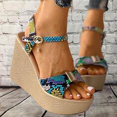Women's PU Wedge Heel Sandals Platform Wedges Peep Toe With Buckle Animal Print shoes
