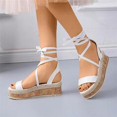 De mujer PU Tipo de tacón Sandalias Planos Encaje con Cordones Agujereado zapatos