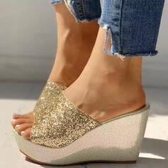 De mujer PU Tipo de tacón Sandalias Cuñas con Lentejuelas Brillo Chispeante zapatos