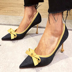 Women's PU Stiletto Heel Pumps Pointed Toe With Bowknot Splice Color shoes