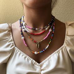 Colorido Bohemio En capas Aleación Perlas Collares 4 PIEZAS