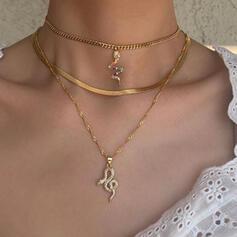Shining Snake Shaped Layered Alloy Rhinestones Women's Ladies' Necklaces 3 PCS