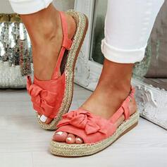 De mujer Ante Tacón plano Sandalias Plataforma Encaje con Bowknot zapatos