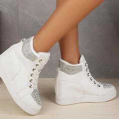 Women's PU Flat Heel Platform Flats Sneakers With Rhinestone Lace-up shoes