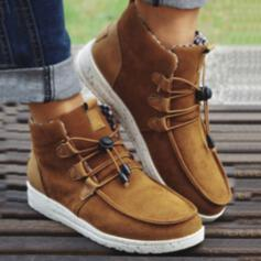 Women's PU Flat Heel Flats High Top Sneakers Slip On With Lace-up Patchwork shoes