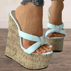 Women's PU Wedge Heel Sandals Pumps Platform Wedges Peep Toe Slingbacks Slippers Heels With Solid Color shoes