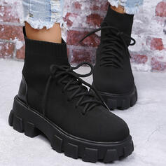 Women's Fabric Chunky Heel Platform Mid-Calf Boots Martin Boots With Lace-up Solid Color shoes