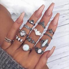 Exótico Aleación con Diamantes de imitación Anillos (Juego de 12)