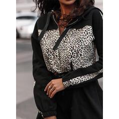 Bloque de color/Leopardo Manga Larga Acampanado Sobre la Rodilla Casual Vestidos