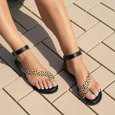 Women's PU Flat Heel Sandals Flats Peep Toe Toe Ring With Animal Print shoes