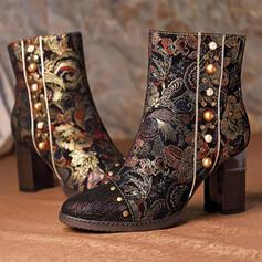 De mujer PU Tacón ancho Botas de equitación Encaje con Rhinestone Rivet zapatos