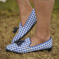De mujer PU Tacón plano Planos con Correa Trenzada Color de empalme zapatos