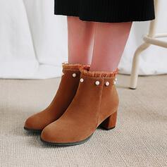 De mujer Cuero Tacón ancho Botas al tobillo Encaje con Cuentas Color sólido zapatos