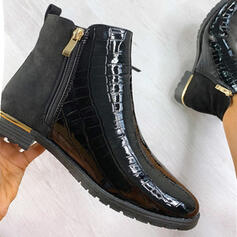 Women's PU Low Heel Ankle Boots Round Toe With Zipper Solid Color shoes
