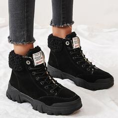 Women's Suede Platform Ankle Boots Low Top With Lace-up Faux-Fur shoes
