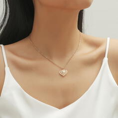 Simple Heart Alloy With Imitation Pearl Women's Necklaces