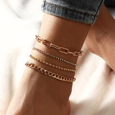 Classic Link & Chain Layered Alloy Women's Ladies' Anklets 4 PCS