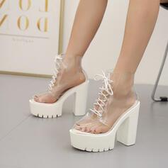 De mujer PVC Tacón ancho Cima mas alta con Cordones Otros zapatos