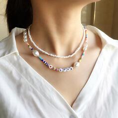 Exótico Bohemio Aleación Resina Perla Perlas de cristal con Resina Perlas Perlas Collares 2 piezas