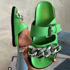 Women's PU Flat Heel Sandals Flats Peep Toe Slippers With Buckle Chain shoes
