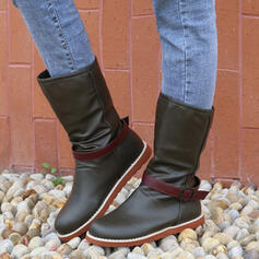 Women's PU Flat Heel Mid-Calf Boots Riding Boots Round Toe With Lace-up shoes