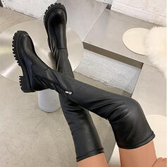 Women's PU Chunky Heel Boots Over The Knee Boots With Solid Color shoes