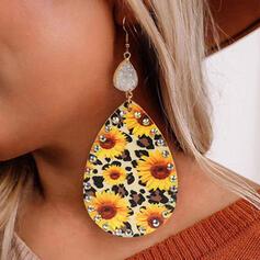 Leopard Sunflower Natural Stone Alloy Rhinestones Leather Women's Earrings 2 PCS