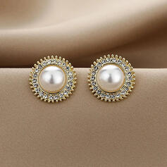 Fashionable Alloy Rhinestones Imitation Pearls With Rhinestones Imitation Pearls Women's Earrings 2 PCS