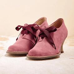 De mujer PU Tacón ancho Salón Dedo del pie puntiagudo con Cordones zapatos