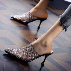 Women's Mesh PU Kitten Heel Sandals Pumps Slingbacks Slippers Heels Pointed Toe With Sequin shoes