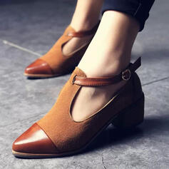 Women's Leatherette Chunky Heel Pumps Pointed Toe With Buckle Patchwork shoes