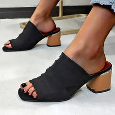 Women's Cloth Chunky Heel Sandals Peep Toe With Solid Color Splice Color shoes