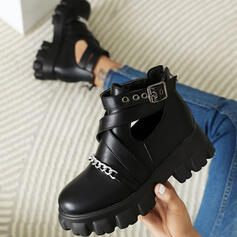 Women's PU Chunky Heel Boots Ankle Boots Martin Boots Low Top With Buckle Chain Hollow-out Solid Color shoes