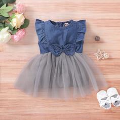 Baby Girl Bowknot Lace Denim Cotton Dress
