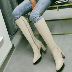 Women's PU Chunky Heel Knee High Boots With Solid Color shoes